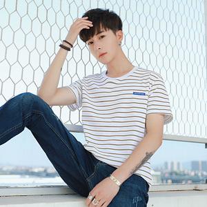 男士短袖t恤纯棉宽松白色圆领半袖韩版新款体恤男装上衣打底