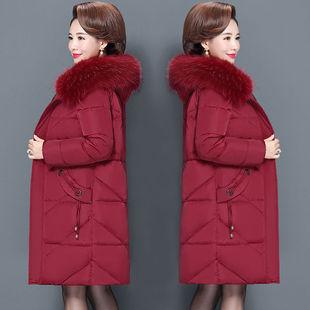 中老年冬装棉衣女中长款妈妈装羽绒棉服200斤加大码中年棉袄外套