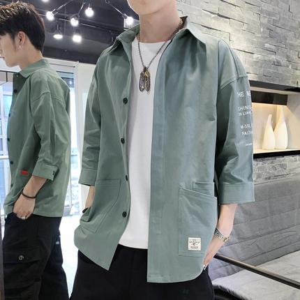 衬衫男韩版潮流工装帅气七分短袖牛仔很仙的衬衣夏季宽松休闲外套