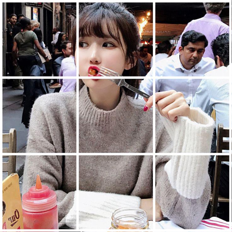 2017 новый дом в том же пункте Daikin старший чувство двойной цвет мозаика шикарный свитер женщины слабее большой рукава
