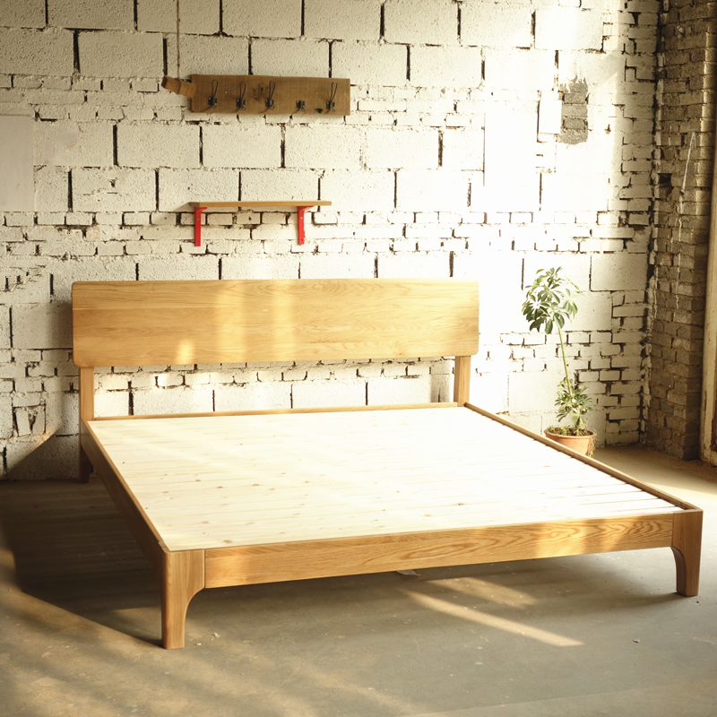 White oak solid wood bed Nordic modern simple Japanese double single bed, small apartment 1.8 meters 1.5 meters solid wood bed