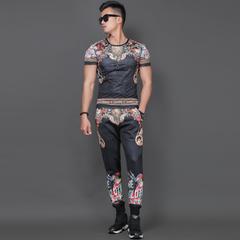 欧洲站时尚个性印花套装运动套装夏季韩版休闲复古印花帅气衣服男