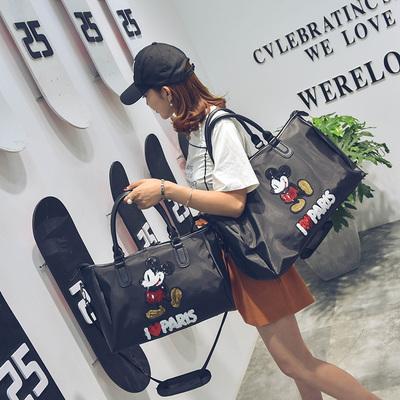 夏季新款学生行李包袋时尚米奇防水短途手提旅行包单肩女包大包潮