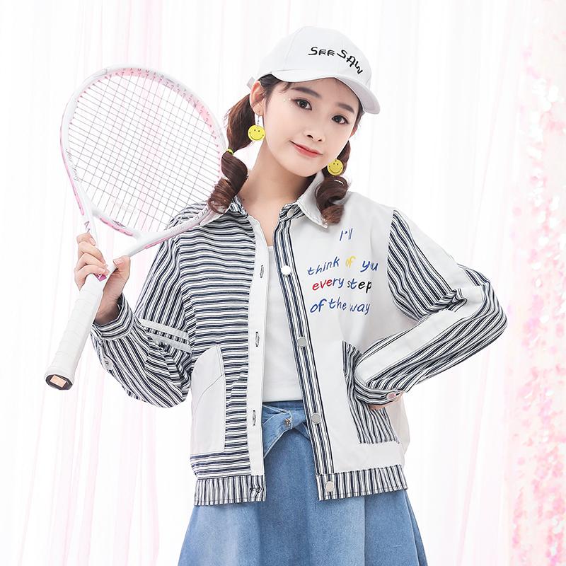 Áo khoác/Đồ bóng chày/Áo nữ dài tay họa tiết kẻ sọc loại mỏng phong cách Hàn Quốc kiểu dáng rộng rãi phong cách học sinh phù hợp cho mùa xuân mẫu mới nhất