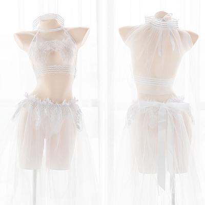 性感蕾丝透视分体式花嫁情趣内衣套装婚纱蓬蓬纱裙可爱