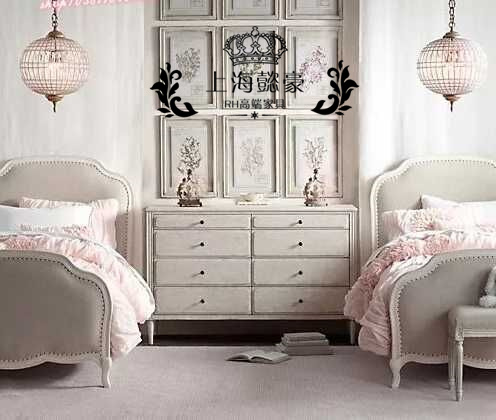 French Romantic Princess Soft Wood children bed new classic Jane bedroom furniture bed white old double
