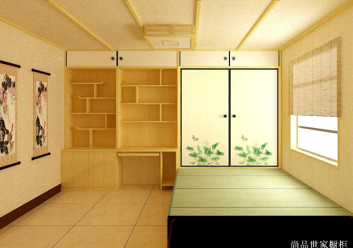 Zhengzhou Lushuihe tatami platform customized wood bed platform customized whole wardrobe desk shelf cabinet style