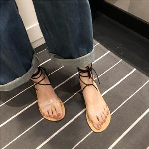 027#实拍!实价!chic韩风透明绑带凉鞋 两色入