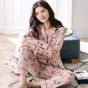 男女韩版情侣睡衣长袖纯棉春秋季全棉睡衣薄款家居服套装可外穿