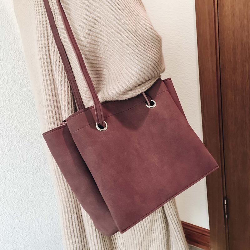 包包女2017新款韩版简约纯色单肩大包百搭磨砂斜跨包托特包手提包