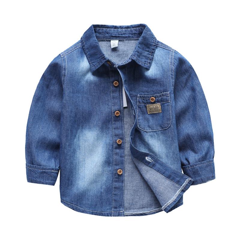 儿童牛仔衬衫宝宝加绒外套新款韩版上衣服秋冬童装男童长袖衬衣潮