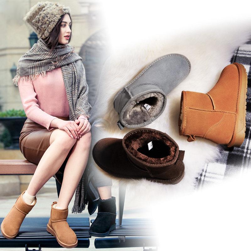 秋冬季新款雪地靴女甜美平跟短靴真皮厚底防水棉鞋韩版学生女鞋