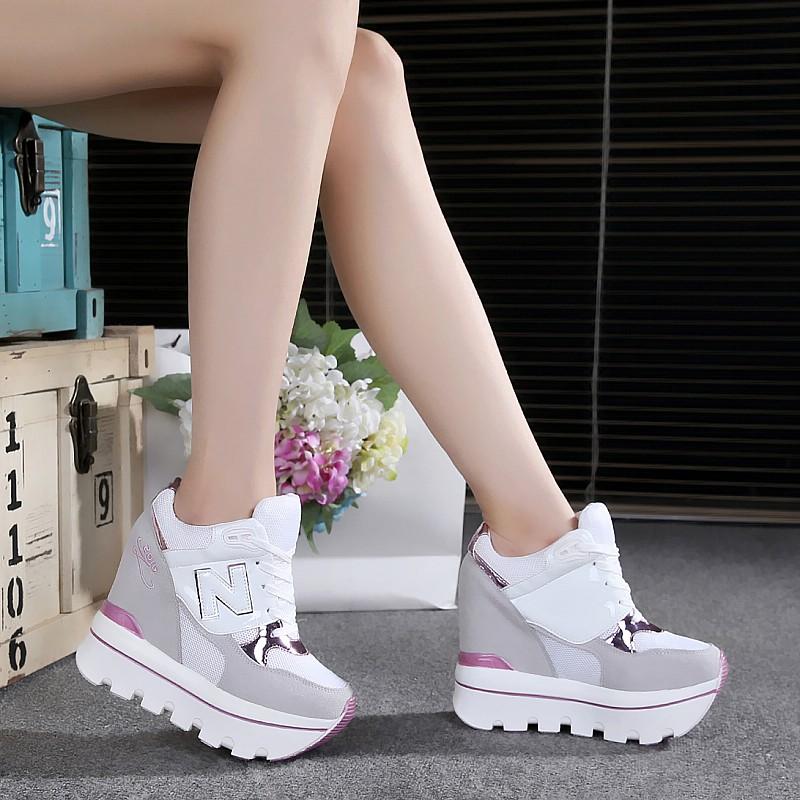 2017秋鼕韓版厚底超高跟12cm內增高運動鞋休閑松糕底女鞋坡跟單鞋