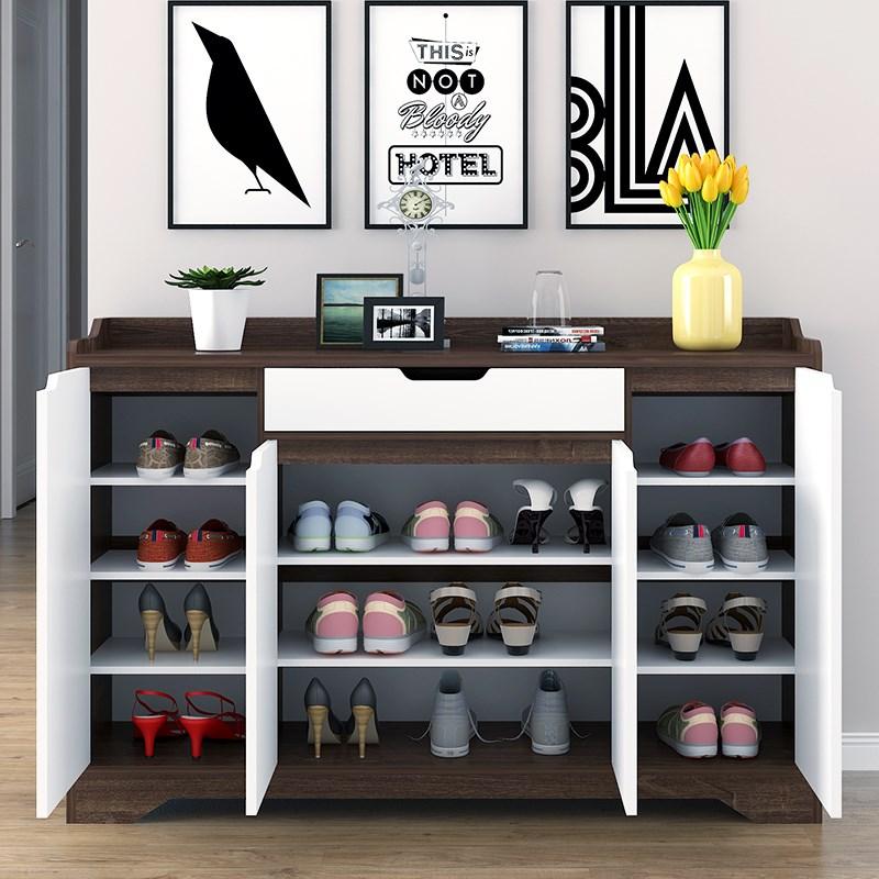 Chaussure en bois vernis multicouche simple moderne de grande capacité salon porche à l'ouverture de la porte de Hall armoire simple de casiers