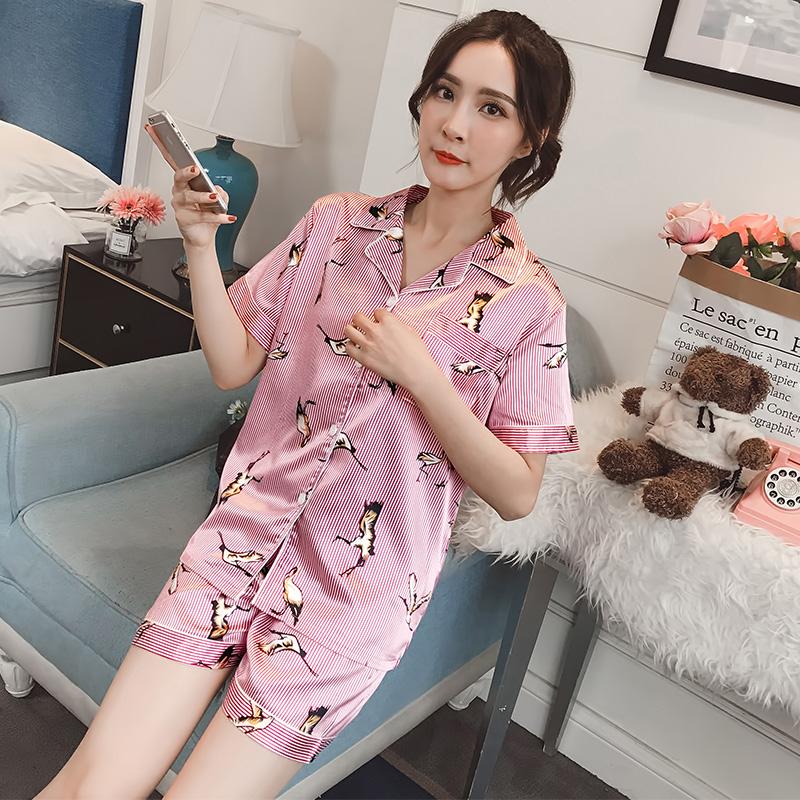 實拍2018夏季新款仿真絲開衫套裝家居服睡衣套裝