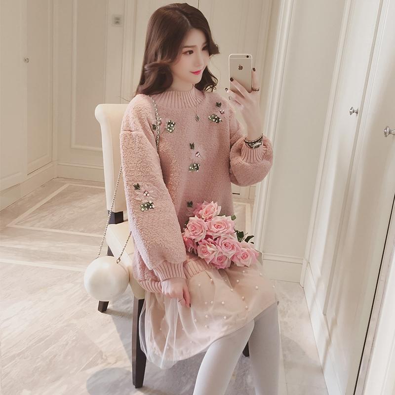 鼕季新款粉色寬松拼接毛絨加厚衛衣連衣裙中長款釘珠過膝公主裙子