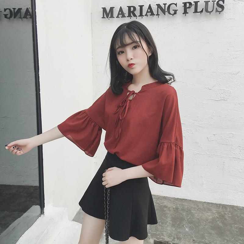 春夏女装新款韩版小清新领口系带短袖喇叭袖雪纺衫学生打底衫上衣