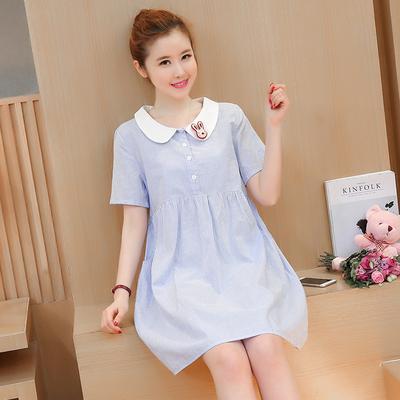 【实拍】 夏季韩版新款短袖娃娃领中长款宽松条纹孕妇装