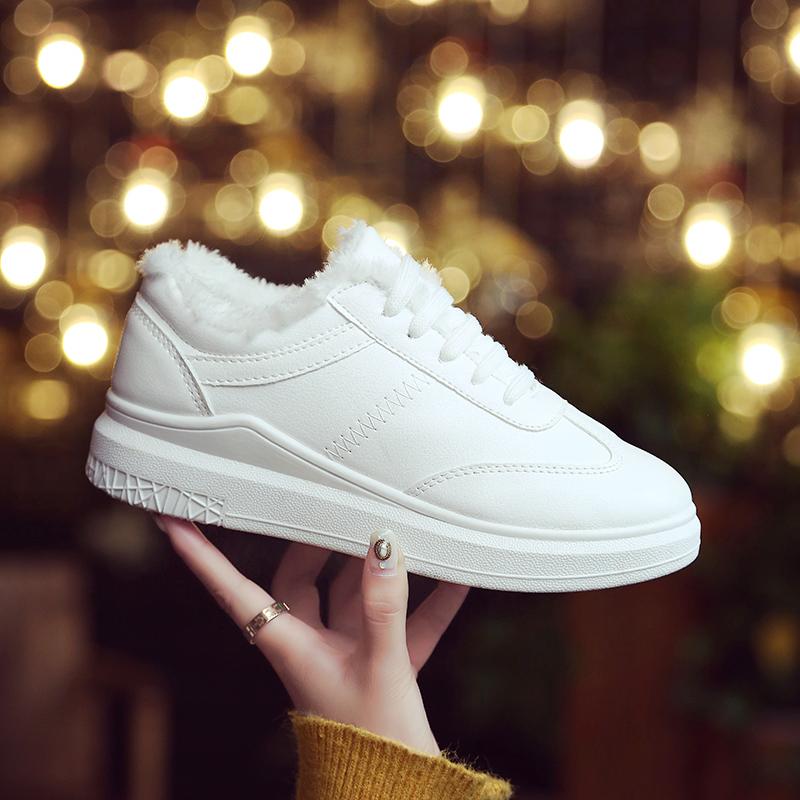 秋冬季系带小白鞋女新款加绒韩版百搭休闲厚底松糕内增高学生板鞋