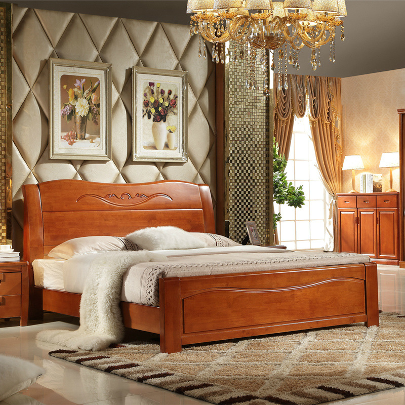 Modern minimalist Chinese solid wood bed master bedroom furniture 1.8 meters storage high box bed 1.5M double oak bed wedding bed