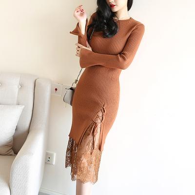 莫凝秋冬季针织连衣裙女修身显瘦性感蕾丝喇叭袖包臀中长款打底裙