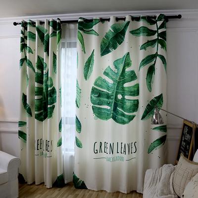 简约现代北欧植物棉麻个性窗帘定制客厅卧室书房美式成品窗帘芭蕉