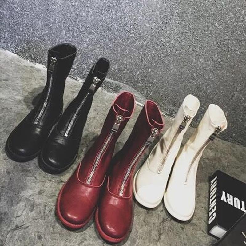 2017新款秋鼕歐美前拉鏈短靴女鞋復古馬丁靴女英倫大碼粗跟靴子女