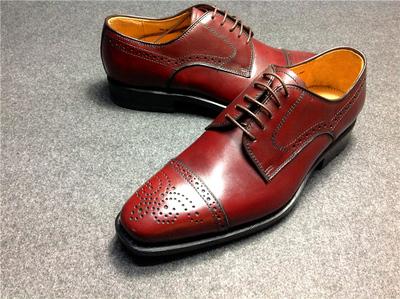 特价正品专柜男士头层牛皮布洛克雕花手工牛皮底固特异商务男鞋39