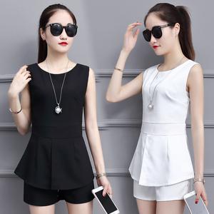 888实拍#雪纺套装2018夏季新款女装洋气无袖短裤气质休闲两件套潮
