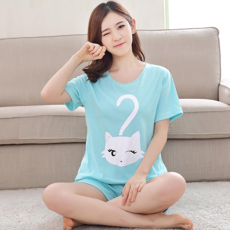 女问号猫:短袖套装