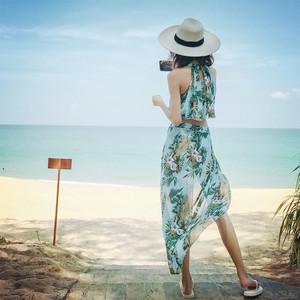 北欧风情分体裙式比基尼小胸钢托聚拢三件套度假长裙遮肚显瘦泳衣