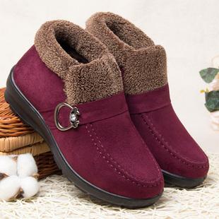 老人毛鞋冬防滑保暖中老年棉鞋女毛毛冬季太太穿老北京加绒妈妈鞋