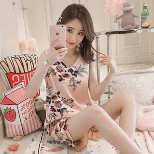 丝质睡衣女夏季韩版印花甜美冰丝套头家居服大码薄款丝绸短袖套装