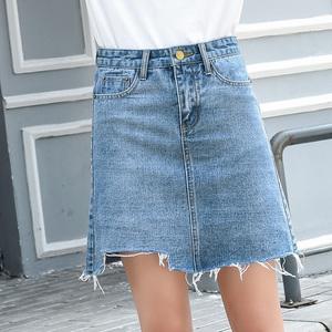 2018夏新款韩版高腰ins牛仔短裙女学生显瘦a字包臀裙不规则半身裙