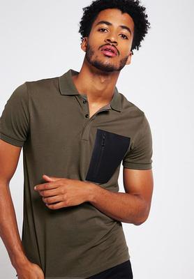 男士装短袖polo衫丝光棉纯棉修身潮拉链口袋珠地网眼保
