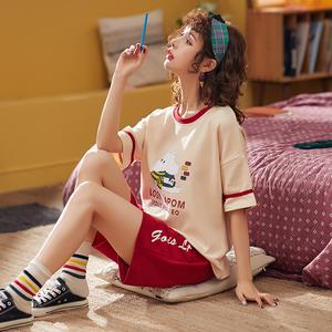 夏季睡衣女纯棉短袖短裤薄款春秋可爱学生夏天新款家居服两件套装