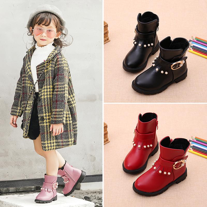童鞋2017秋冬季女童马丁靴女孩短靴子中大童雪地靴儿童棉靴童靴潮