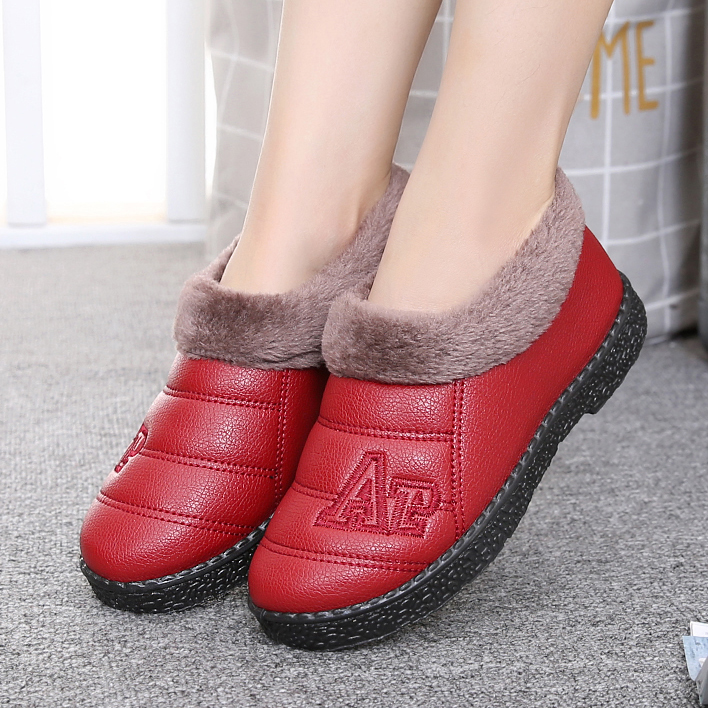 鼕季老北京布鞋女棉鞋防滑加厚加絨媽媽鞋保暖鞋平底雪地靴短靴子