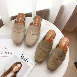 韩版2018新款简约一脚蹬包头拖鞋舒?#24066;?#33394;穆勒复古拖鞋 866-3