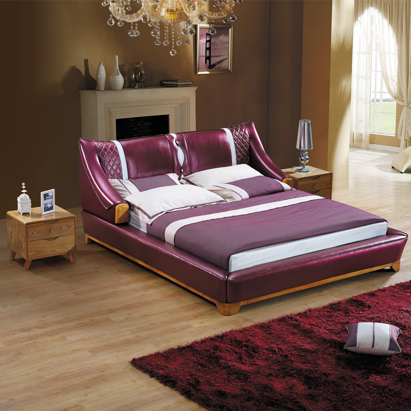 Leather bed wood leather bed 1.51.8 m solid wood bed purple leather bed double bed bedroom furniture