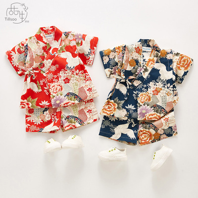 儿童纯棉日式睡衣中小幼儿童和服浴衣袍男女宝宝家居服汗蒸服套装