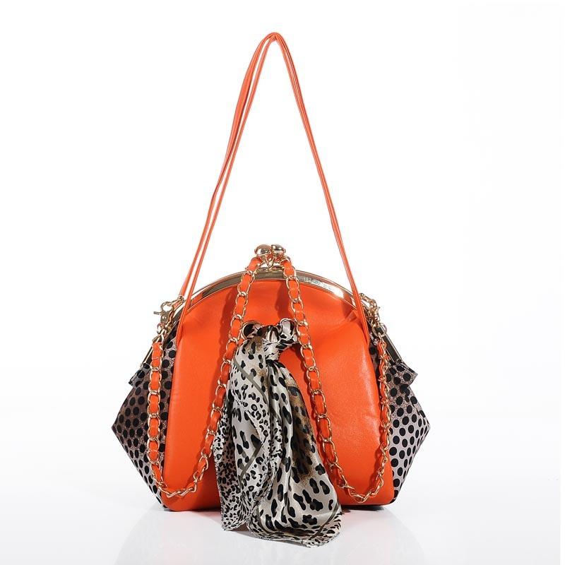 新款时尚豹纹铁夹口女士手拿包晚宴包多用包 斜挎包蝴蝶结丝巾包