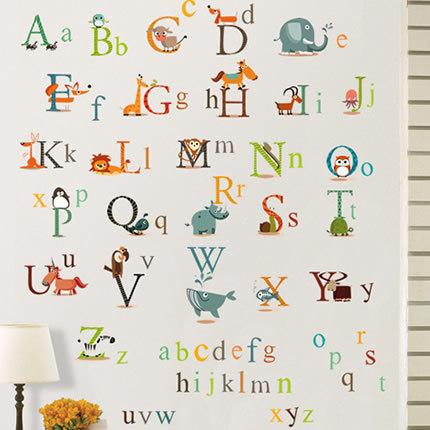 Съемный стикер алфавит животных мультфильм детей Спальня стены съемных таблички наклейки на стену