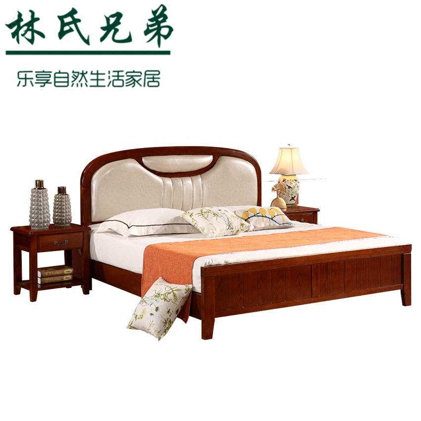 Lim brothers all wood American country princess bed 1.8 meters red oak double modern minimalist modern marriage bed