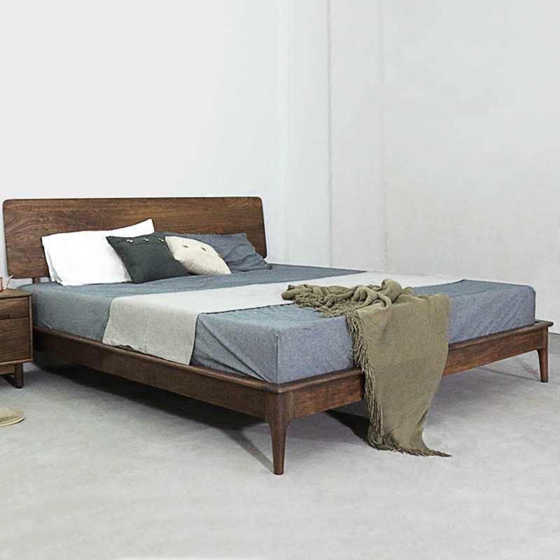 New Chinese bedroom furniture, Nordic simple full solid oak, black walnut flat back double bed