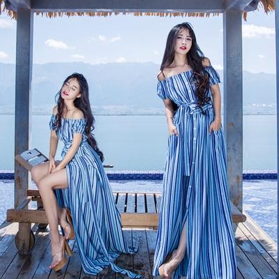 原创设计波西米亚度假长裙 一字领露肩显瘦蓝色条纹连衣裙沙滩裙