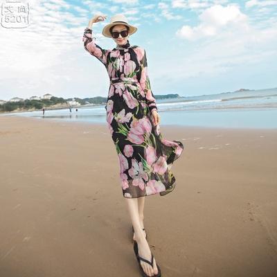 长袖印花高腰大摆真丝连衣裙新款度假海滩裙波西米亚长裙沙滩裙夏