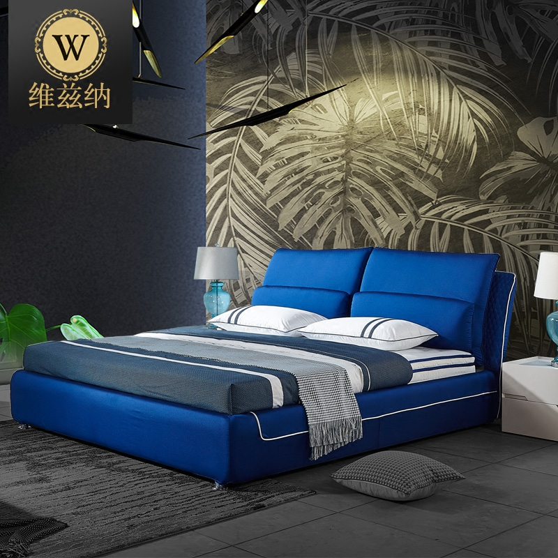 What makes creative personality Nordic washable fabric bed 1.8 meters master bedroom modern minimalist wood double bed cloth