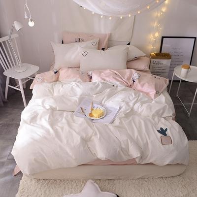刺绣水洗棉四件套  白色纯洁全棉床品 清新简约纯色纯棉被套 韩式