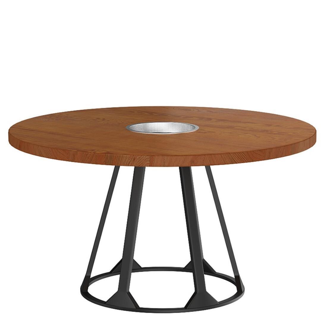 La Mesa redonda de madera, hierro forjado, el humo caliente cocina una mesa y sillas Grupo Industrial vivir mal
